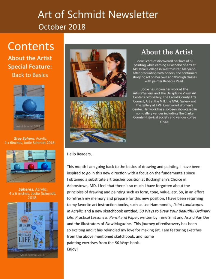 Art of Schmidt Newsletter, October 2018, page 1, final