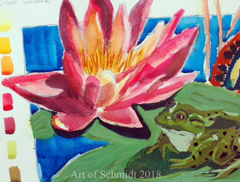 water lily watercolor, color study_edited, flat