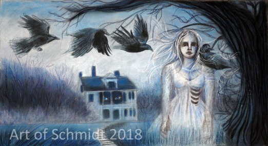 Here is a pastel drawing, loosely based on Robert Frost's Ghost House poem.
