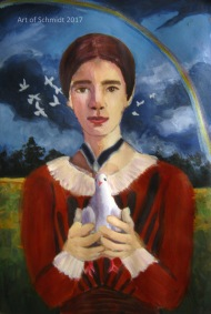 This painting was inspired by an Emily Dickinson poem, Hope is the Thing with Feathers.