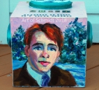 Here is a three dimensional wood box, painted with acrylic paints. It tells a portion of the story in Frost's poem, Stopping by the Woods on a Snowy Evening.