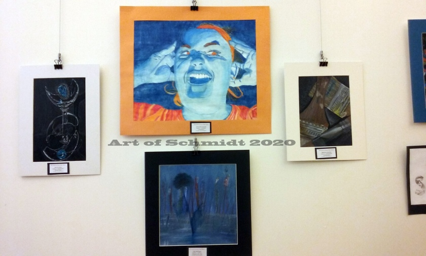Blue face gallery wall, watermark