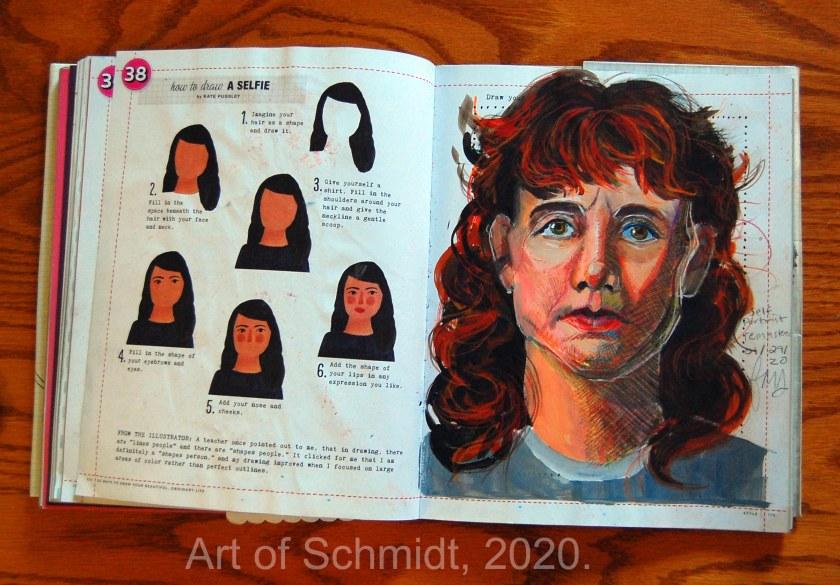 mixed media self-portrait sketch, flat