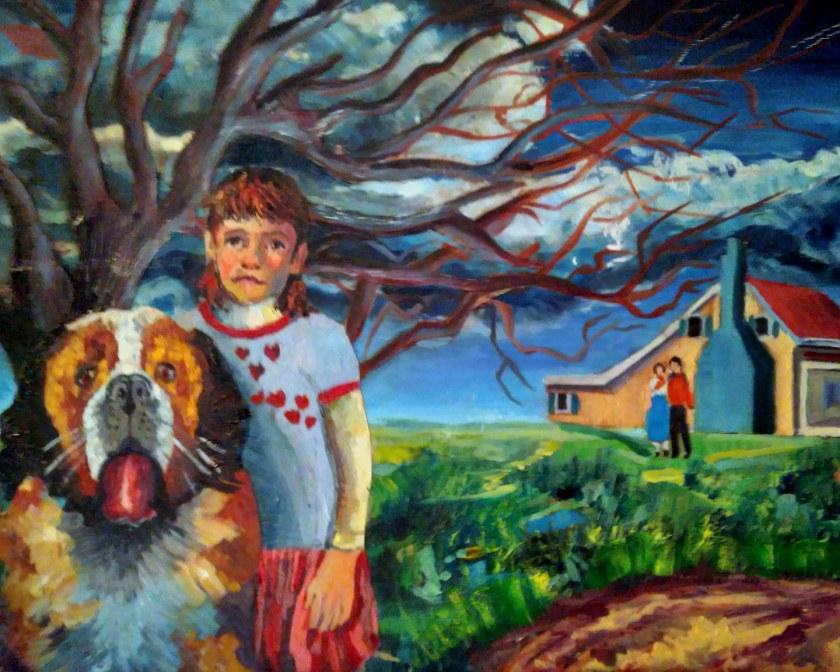 portrait, oil, girl, dog, family, home, landscape.